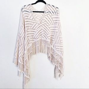 Bohemian Gypsy Knit Fringed Poncho Top Crochet